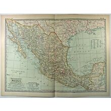 Original 1902 Map of Mexico by The Century Company