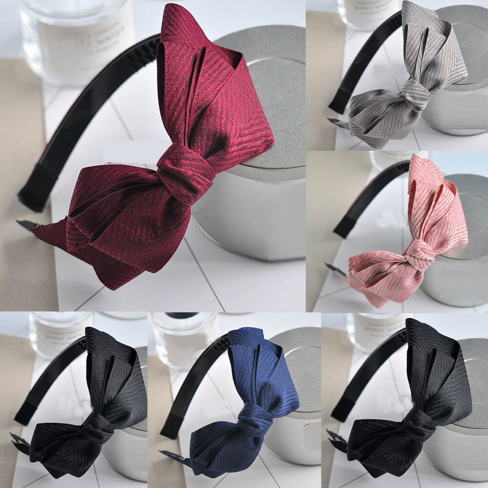 Details about Womens Big Bow Knot Hair Bands Solid Headband Hairband Head  Hoop Accessories New 804af886d2f