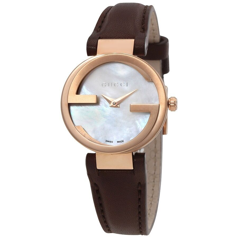 e59f4a51f92 Details about New Gucci Interlocking Women s Brown Leather Strap Watch 29mm  YA133516