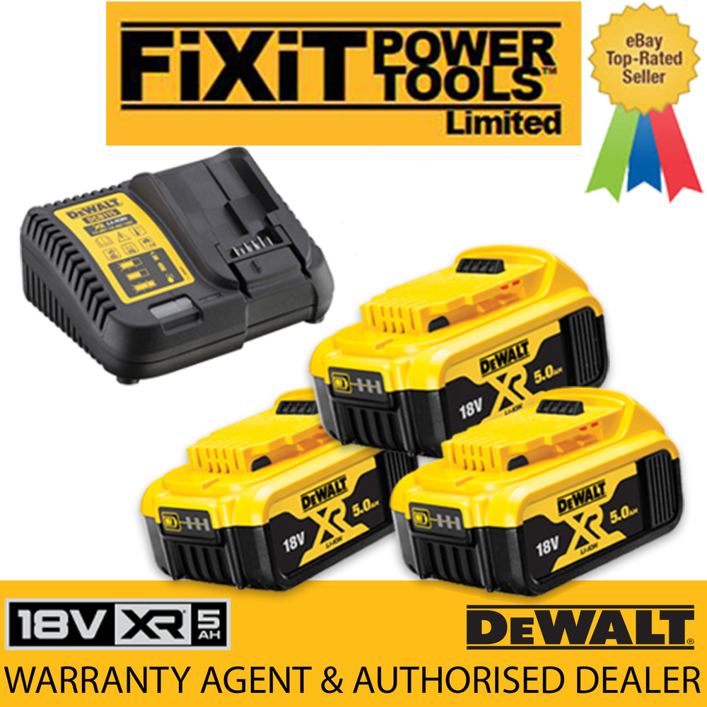 Dewalt 3 X Dcb184 Amp 1 Charger 18v Xr 5 0ah Battery Lithium