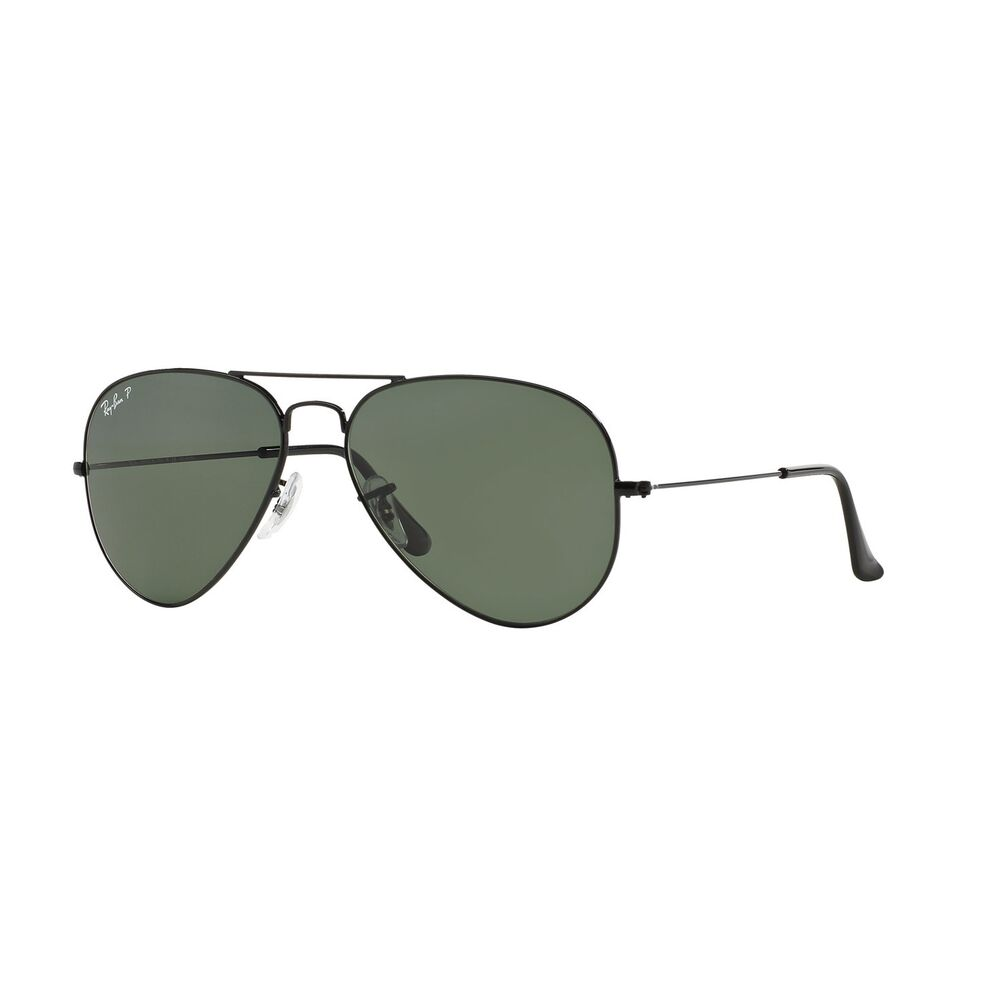 650be12e09 Details about New Ray Ban Sunglasses Original AVIATOR RB3025 002 58 Black  Polarized Green Lens