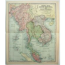 Original 1903 Map of Southeast Asia by Dodd Mead & Co. Siam Indochina. Antique