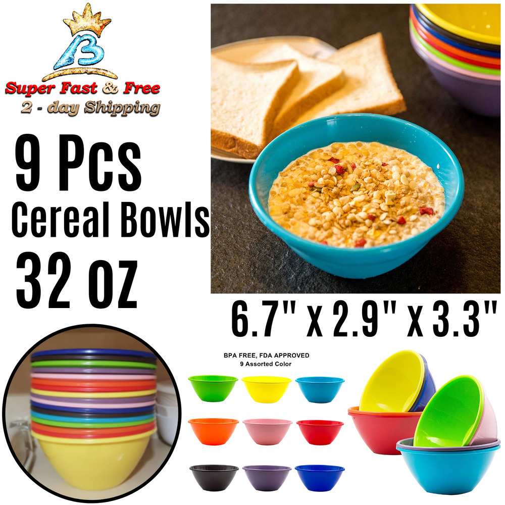 Details About Plastic Cereal Soup Bowls Large 32 Ounce Microwave Safe Set Of 9 Orted Colors