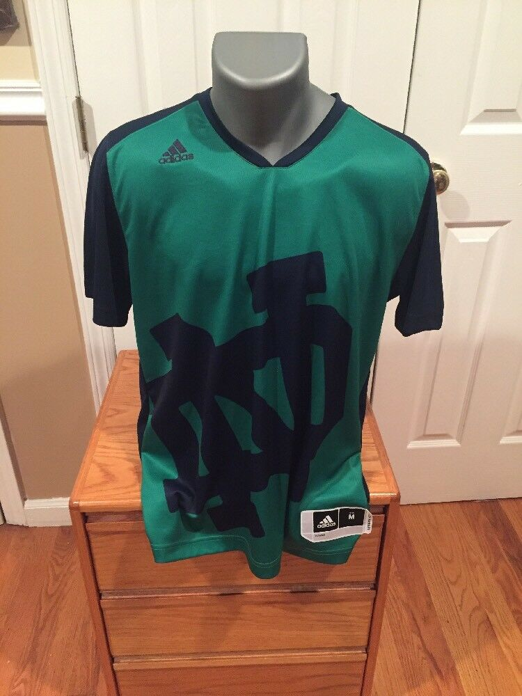 1fff5c7c70 Details about Notre Dame Jersey Size Medium Adidas SAMPLE SALE green Navy T  Shirt