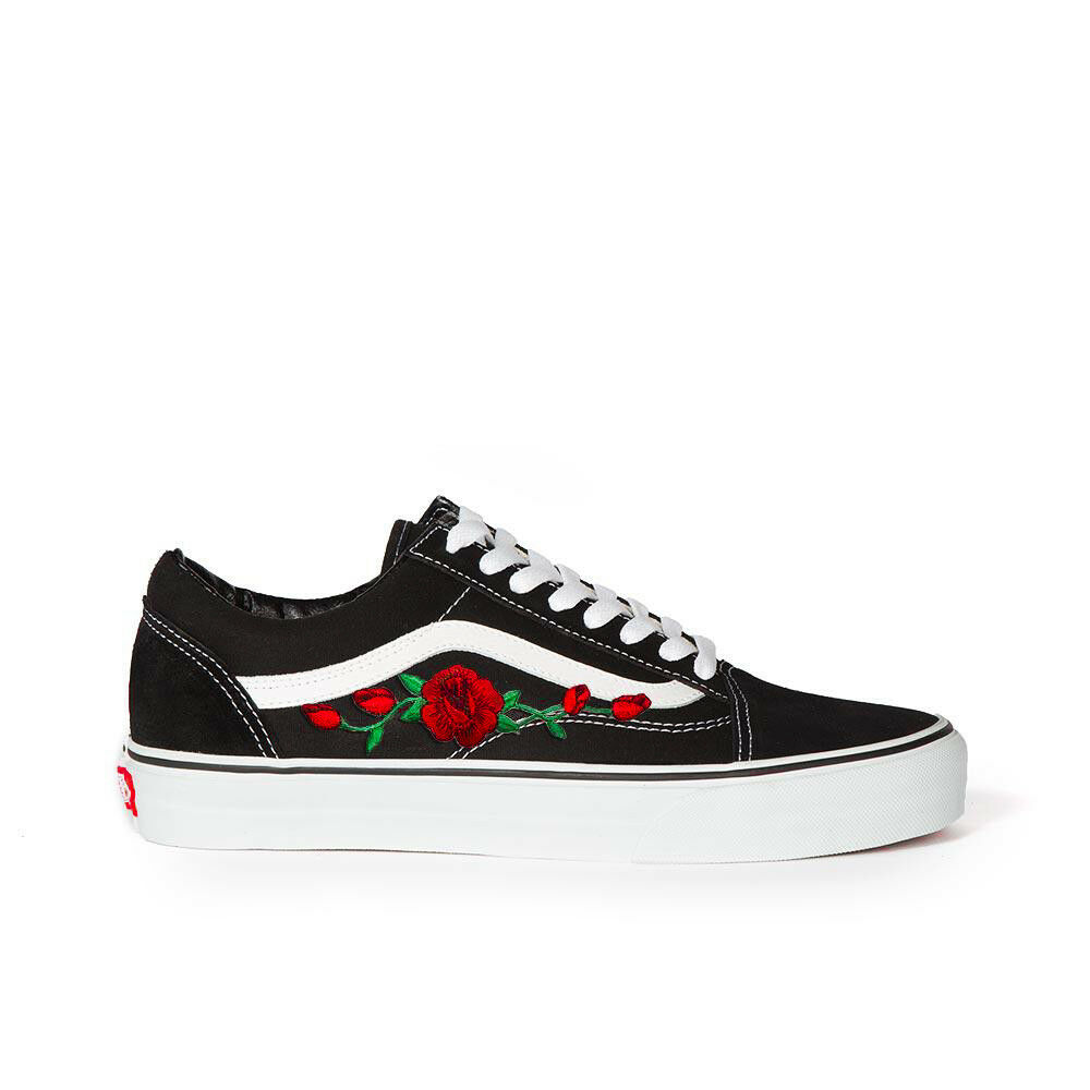 9105385469 Details about New Custom Vans Old Skool Skateboarding Red Rose   Pink Rose  Embroidery Patch