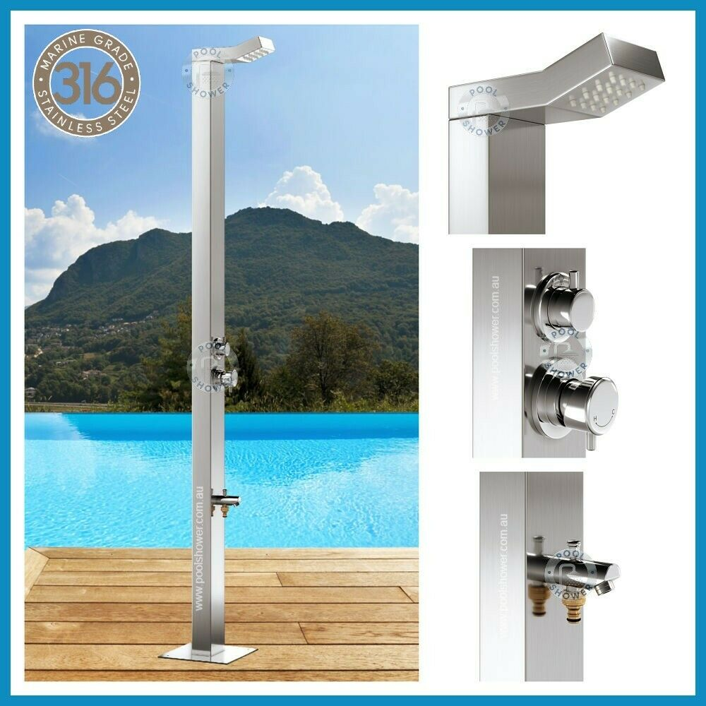 Details About SALE 316 MARINE GRADE WATERMARK Stainless Steel Outdoor  Indoor Shower Pool Panel