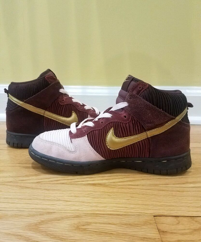 78a72dbe5b Details about Nike Dunk High Kids 316604-671 Burgundy Metallic Gold Pink GS  Grade School 5.5Y