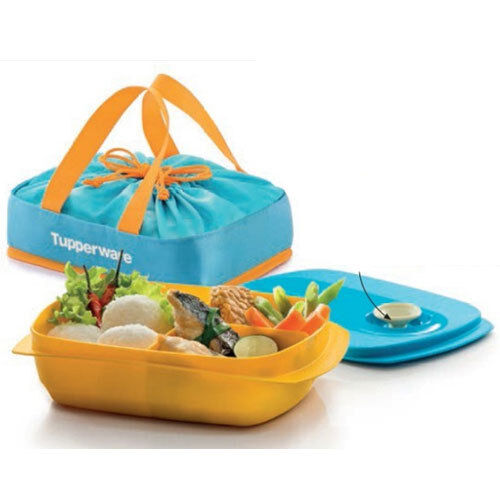 Sectioned Tupperware: Tupperware CrystalWave Divided Dish Lunch Box With Bag