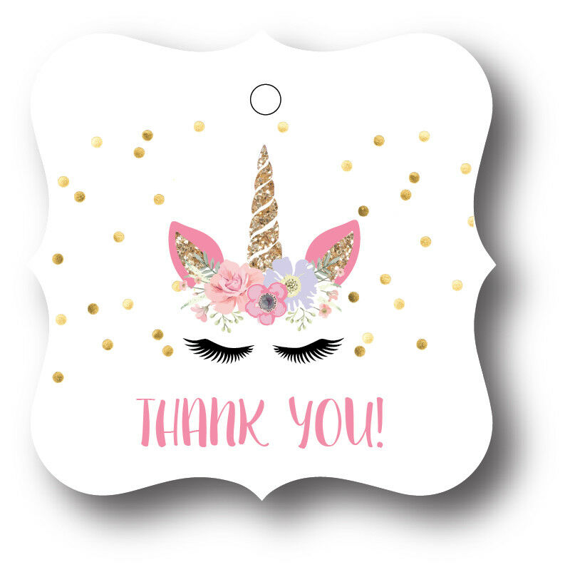 24 Unicorn Face Thank You Birthday Party Favors Treat Bag