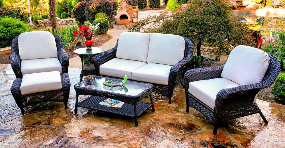 Details About 6 Piece Outdoor Patio Furniture Set Dark Resin Wicker Loveseat With Chairs Table