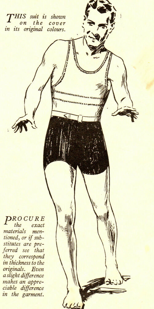 Vintage knitting pattern to make 1930s mens one piece swimming ...