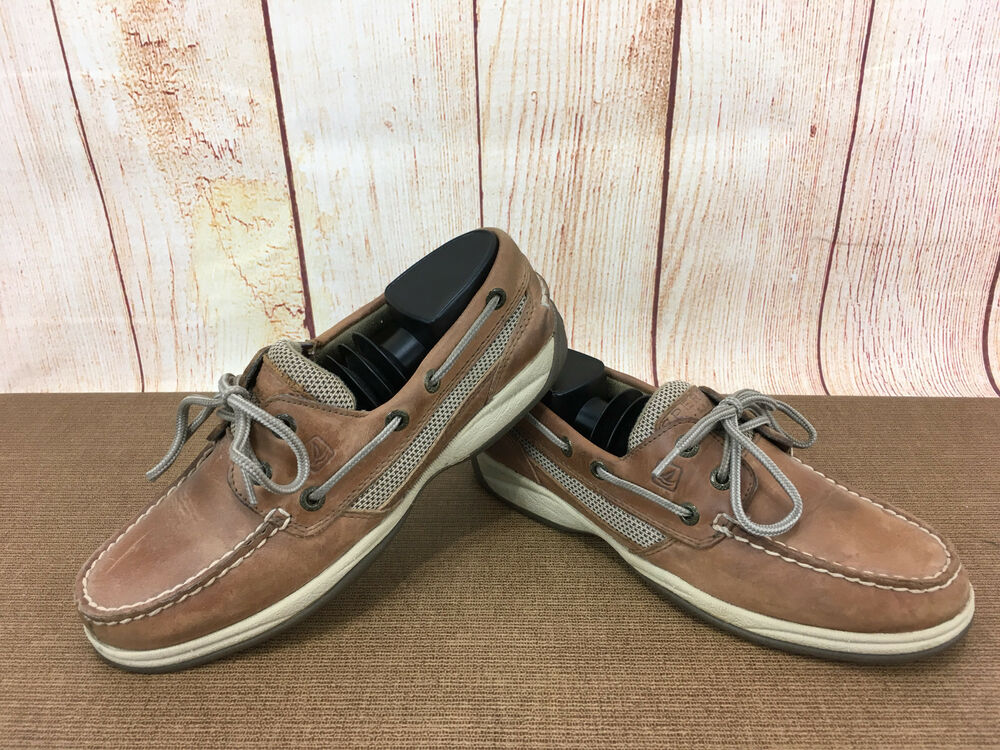 aee28becdf67 Details about Sperry 9777956 Women s U.S. 6.5 M Top-Sider Brown Leather  MocToe Boat Shoe A38(8