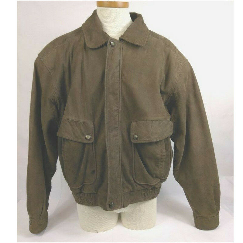 b114abcd8 Misty Harbor Original Mens Jacket Size Large Suede Leather Brown ...