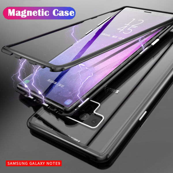 Magnetic Adsorption Case for Samsung Galaxy Note 9 S8 S10 Plus Hard Glass Cover