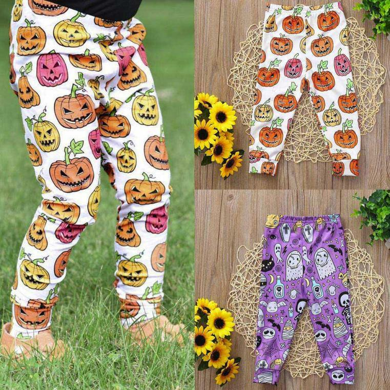 30c97bd1b714f Details about Toddler Infant Kids Baby Girls Halloween Pumpkin Outfits  Skinny Pants Leggings