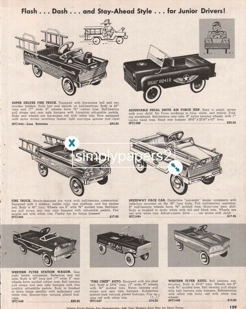 765bc6f85a0 Details about 1962-63 Western Flyer Trikes Scooters Wagons Driver Fire Scat  Car Ad 6 Pages