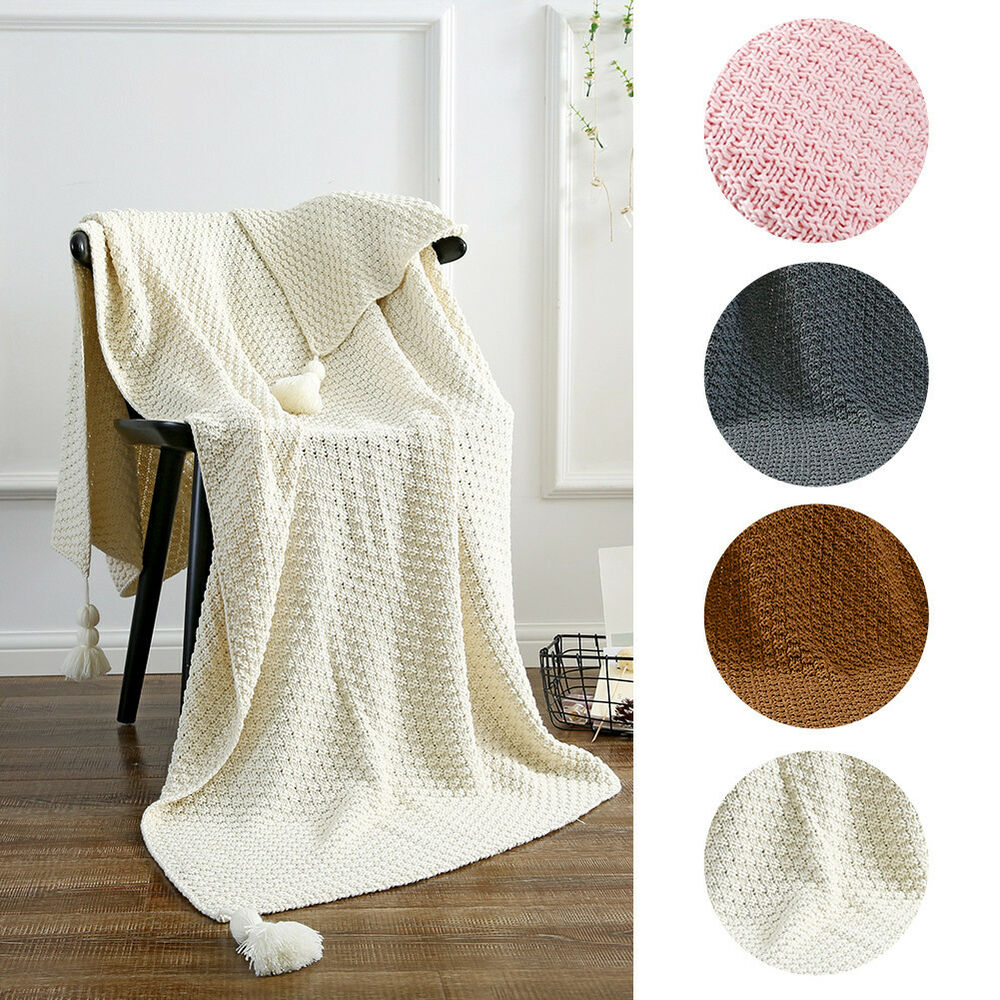 Details About 100 Cotton Knitted Throw Blanket Knitting Crochet Sofa Rug Home Decor 130x170cm