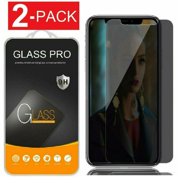 [2-Pack] iPhone X XS XR XS Max Privacy Anti-Spy Tempered Glass Screen Protector