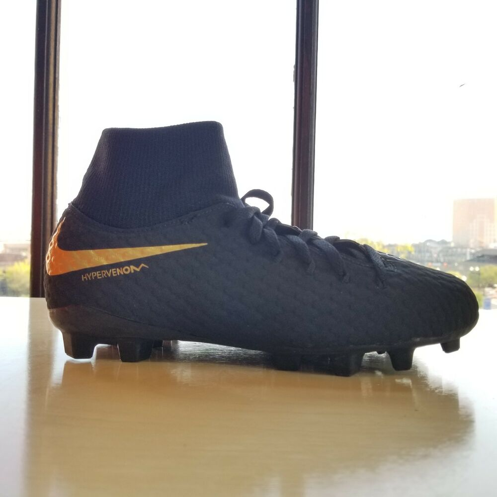 8bbe943dbf3 Details about Nike JR Phantom 3 Academy DF FG Youth Soccer Cleats Black  Gold AH7287-090