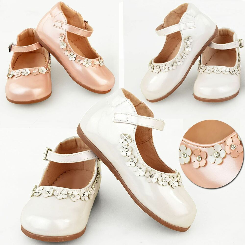 10c9f9f82bd428 Details about Girls Kids Childrens Low Heel Party Wedding Mary Jane White Sandals  Shoes Size