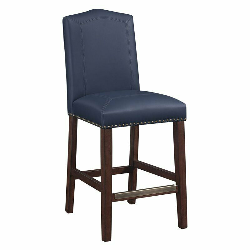 Comfort Pointe Carteret Navy Leather Counter Stool Ebay