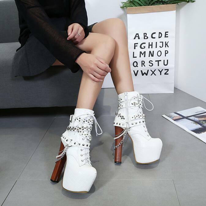 c67cc8b36576 Lace Up Ankle Boots Womens Chain Spike Studded Goth Punk Rock Platform High  Heel