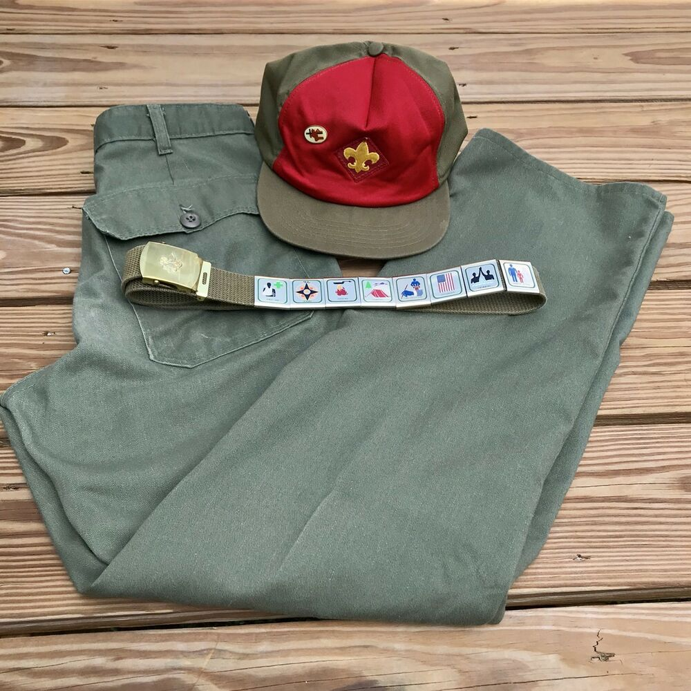 Details about Boy Scout Baseball Cap Hat Belt w  Merit Slides And Pants  Vintage cbb7b0880c2