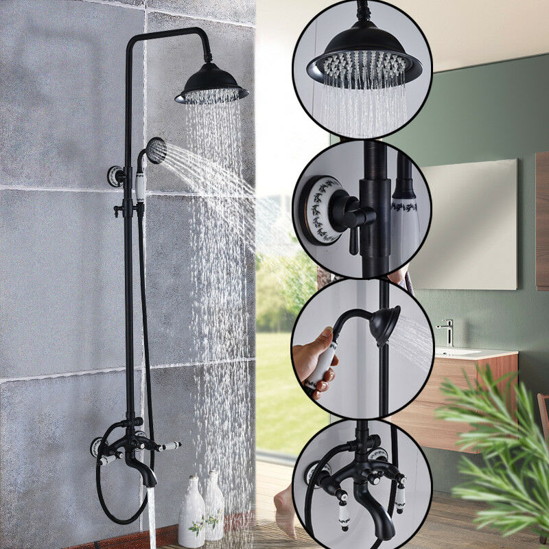 Oil Rubbed Bronze Bath Luxury Rain Shower Faucet Wall Mount Tub Tap