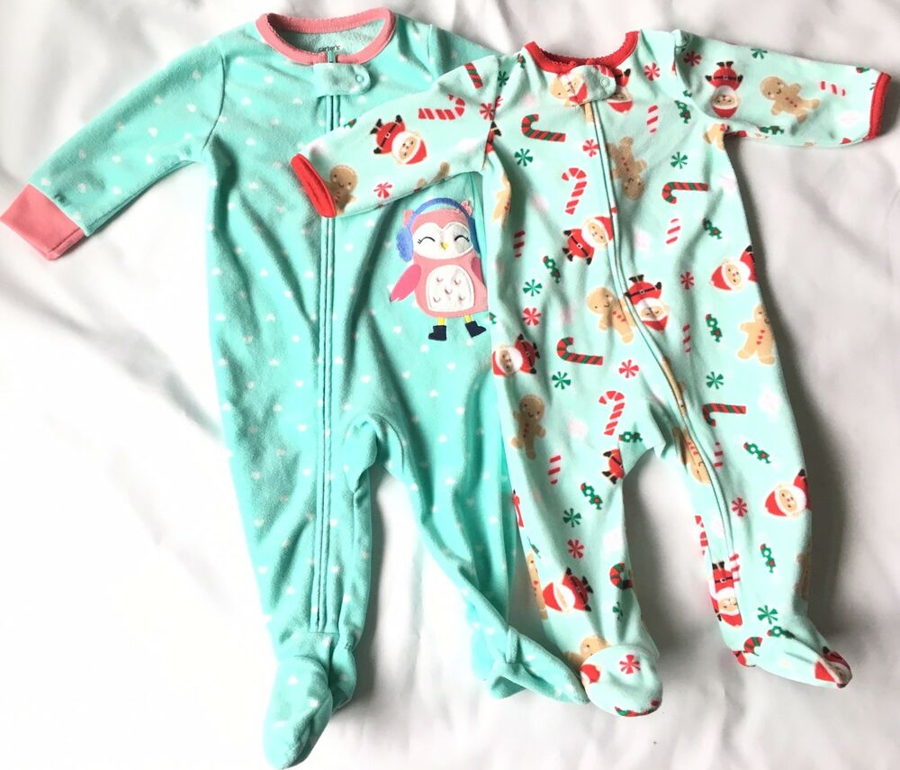 a06d82e92 Carter s Baby Girl Footed Sleepers 3-6   6M Lot Of 2 Santa   Owl ...