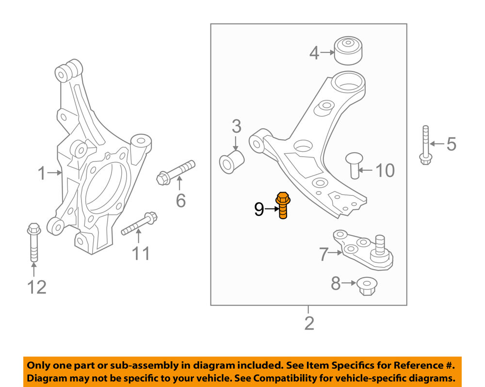 kia oem 11 15 optima front suspension lower ball joint bolt Control Arm Diagram details about kia oem 11 15 optima front suspension lower ball joint bolt 545533r000