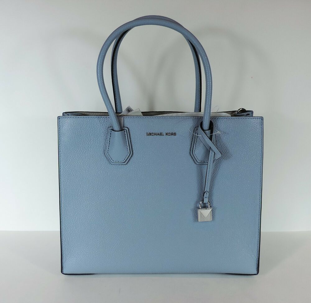 c2eb1af8f402 Details about New MICHAEL KORS MERCER LARGE STUDIO CONVERTIBLE Pale blue  LEATHER BAG leather