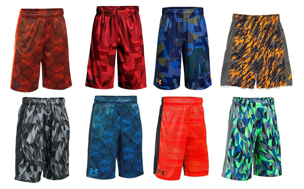 e5e8fefcd Details about UNDER ARMOUR BOY'S PRINTED STUNT SHORTS ORANGE RED BLACK BLUE  XS S M L XL NWT