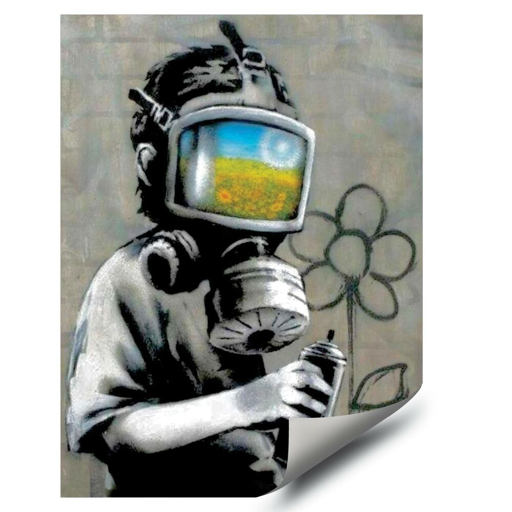 Details about banksy street graffiti gas mask flower boy hd vinyl wall art decal poster