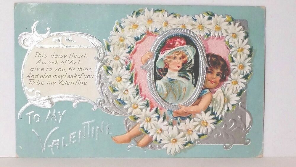 Details about Nash CUPID VALENTINE SERIES 1 Daisy Heart Vintage Valentines  Day 1909 Post card