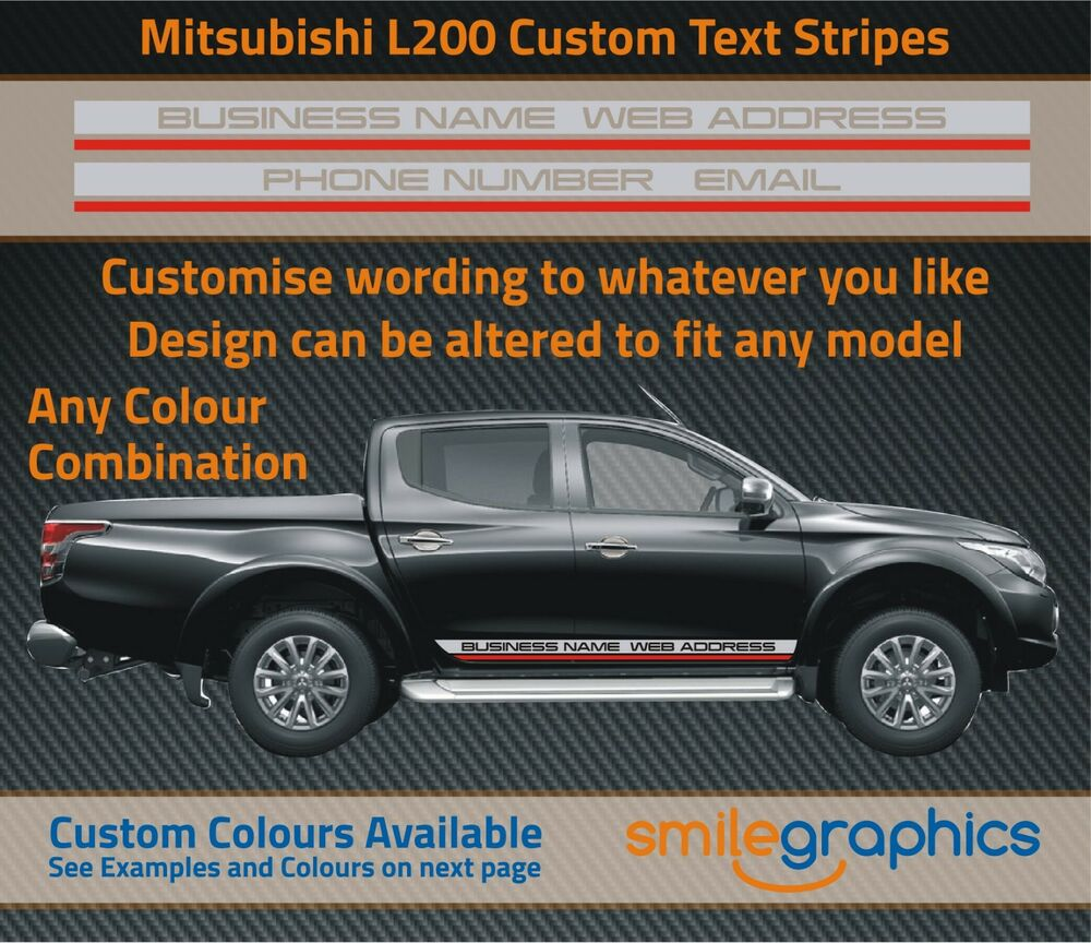 mitsubishi l200 custom text stripes - other colours available - any