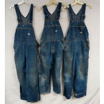 LOT OF 3 VINTAGE DENIM OVERALLS LEE JELT DENIM SANFORIZED BIBS MENS DISTRESSED