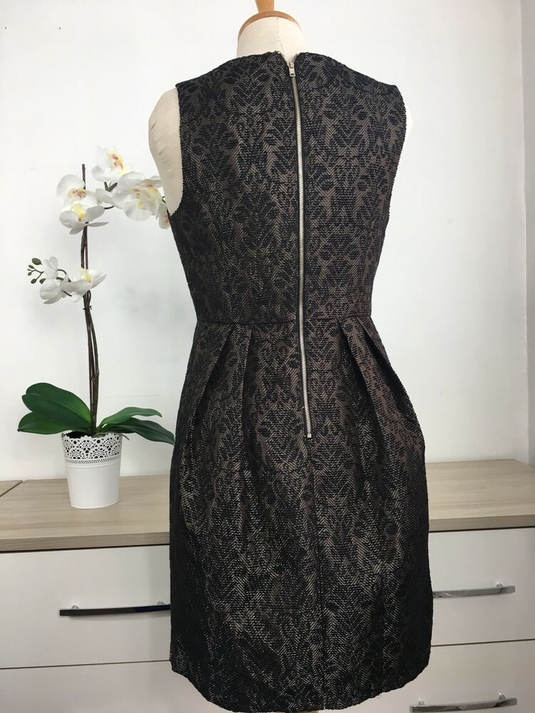 1d8cdcbc80f8 Details about Preloved - Black Gold Brocade Special Occasion Shift Dress  SMALL Size 8 10