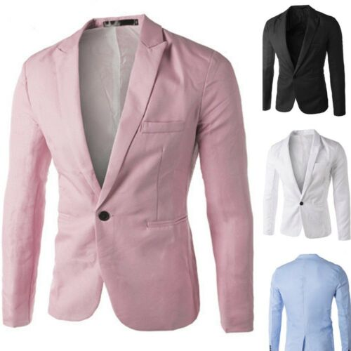 Men Casual Slim Fit One Button Suit Blazer Coat Jacket Tops Men Fashion Outwear