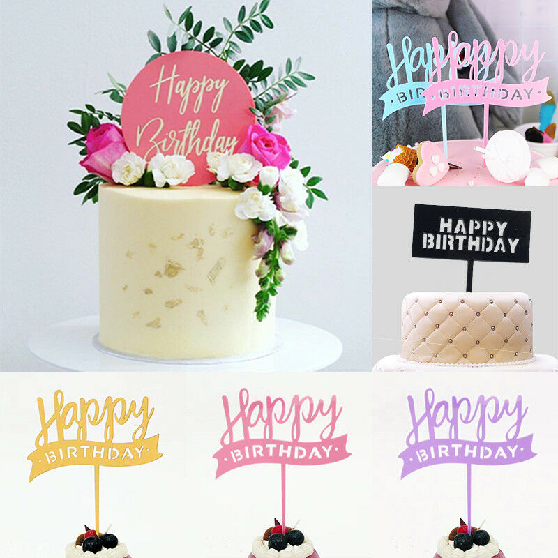 Details About Gold Acrylic Happy Birthday Cake Topper Pick Big Shiny Golden Decoration