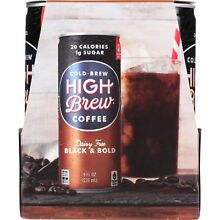 High Brew Coffee Coffee - Ready to Drink - Black and Bold - Dairy Free - 4/8 oz