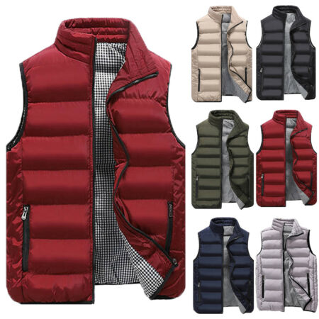 img-Men's Winter Down Quilted Vest Body Warmer Warm Sleeveless Padded Jacket Coat