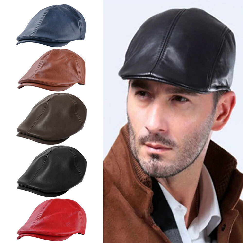 e185a900627d1 Details about Mens Baker Boy Hat Peaky Blinders Newsboy Gatsby Country Faux  Leather Flat Cap