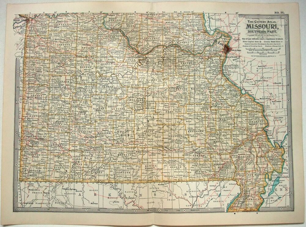 Original 1902 Map of Southern Missouri by The Century Company | eBay