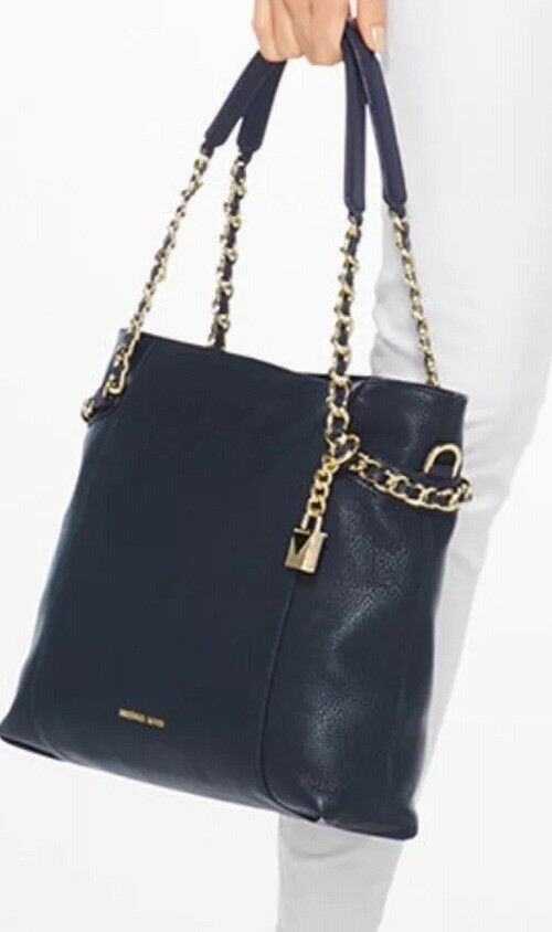 0c4eab45f0 Details about New Michael Kors Remy Shoulder Bag Admiral Gold Chain Handles  Leather