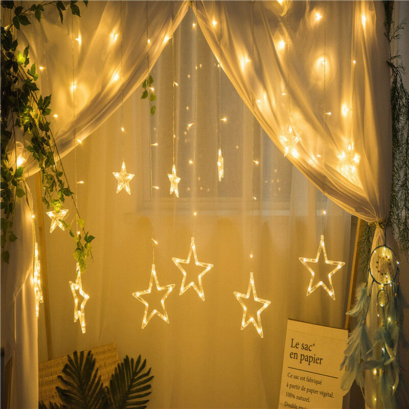 Details About Christmas 138 Led Star Curtain Decorative Window Lights For Party Bedroom 8modes