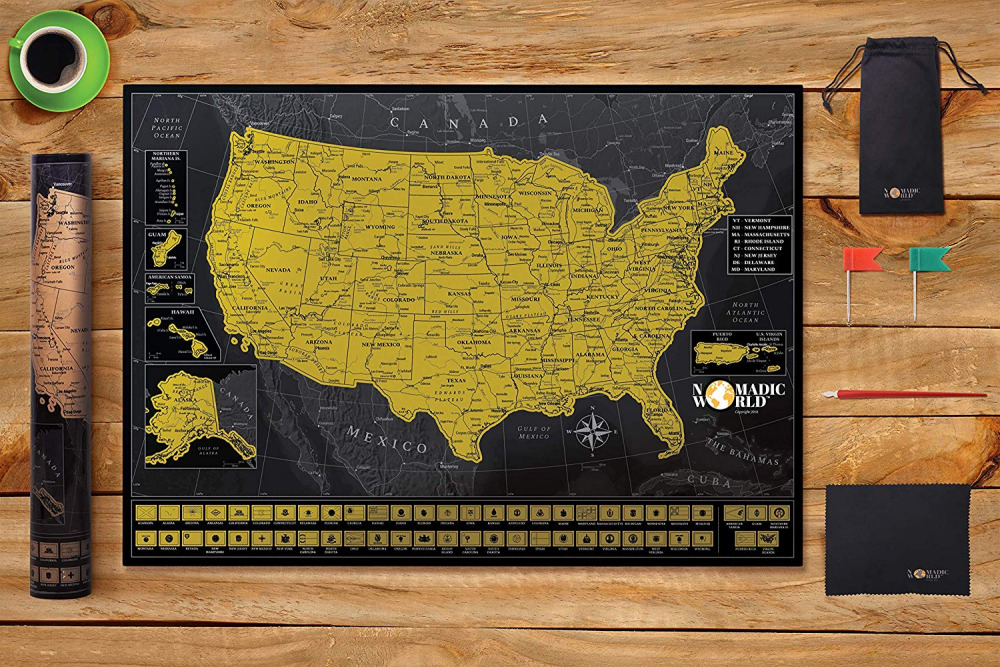 Professionally Designed Usa Scratch Off Map Detailed Of The