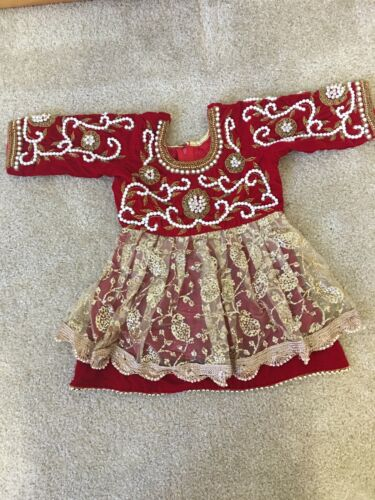 Red Pasni Set for girl/Baby Weaning dress/ Rice feeding Annaprashan ceremony USA