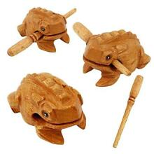 Vintage Hand Carved Wood Frog Rasp Percussion Musical Instrument Tone Block SI