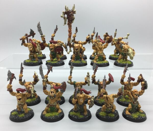 WARHAMMER AGE OF SIGMAR ORCS SAVAGE ORRUK MORBOYS BONESPLITTERZ ARMY PAINTED