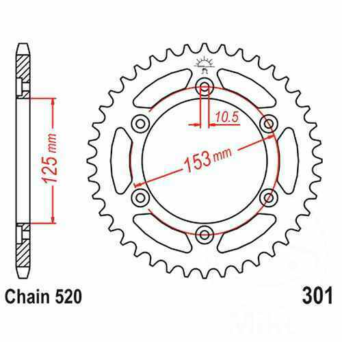 Rear Sprocket 40 Tooth 520 Pitch Si For Honda Crf 250 L 2013